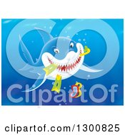 Clipart Of A Blue Shark Eating Snorkel Gear Underwater Royalty Free Illustration