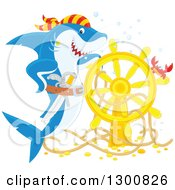 Clipart Of A Happy Blue And White Shark Pirate Posing With A Sunken Ship Helm And Crab Royalty Free Illustration