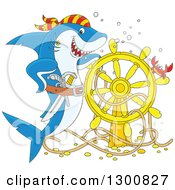 Cartoon Blue And White Shark Pirate Posing With A Sunken Ship Helm And Crab
