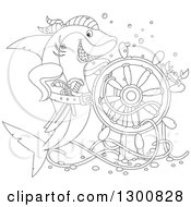 Clipart Of A Black And White Shark Pirate Posing With A Sunken Ship Helm And Crab Royalty Free Illustration