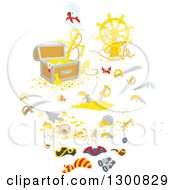 Clipart Of White Bird With A Reasure Chest Helm Sunken Shipwreck Items Swords And Pirate Accessories Royalty Free Vector Illustration