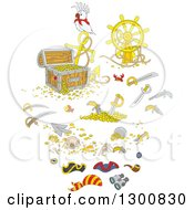 Clipart Of Bird With A Reasure Chest Helm Sunken Shipwreck Items Swords And Pirate Accessories Royalty Free Vector Illustration