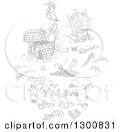 Clipart Of Black And White Bird With A Reasure Chest Helm Sunken Shipwreck Items Swords And Pirate Accessories Royalty Free Vector Illustration