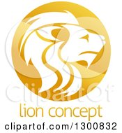 Clipart Of A Gradient Golden Male Lion Head Circle Over Sample Text Royalty Free Vector Illustration
