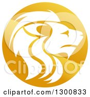 Clipart Of A Gradient Golden Male Lion Head Circle Royalty Free Vector Illustration by AtStockIllustration