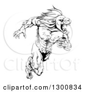 Clipart Of A Black And White Aggressive Muscular Sprinting Lion Man Mascot Royalty Free Vector Illustration
