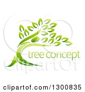 Clipart Of A Gradient Green Man Forming The Trunk Of A Tree With Sample Text Royalty Free Vector Illustration