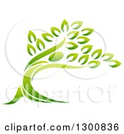 Clipart Of A Gradient Green Man Forming The Trunk Of A Tree Royalty Free Vector Illustration by AtStockIllustration