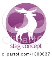 Clipart Of A Gradient Purple Deer Stag Circle Over Sample Text Royalty Free Vector Illustration