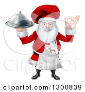 Clipart Of A Happy Santa Claus Chef Gesturing Ok And Holding A Food Cloche Platter Royalty Free Vector Illustration