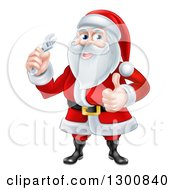 Clipart Of A Christmas Santa Claus Giving A Thumb Up And Holding A Wrench Royalty Free Vector Illustration