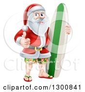 Clipart Of A Christmas Santa Claus Giving A Thumb Up And Standing With A Surf Board On Vacation Royalty Free Vector Illustration