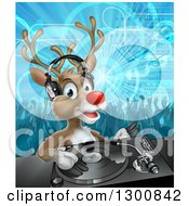 Clipart Of A Christmas Rudolph Reindeer Dj Wearing Headphones Over A Turntable And People Dancing In The Background Royalty Free Vector Illustration