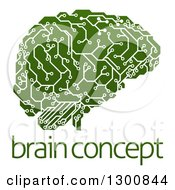 Clipart Of A Green Artificial Intelligence Circuit Board Brain Over Sample Text Royalty Free Vector Illustration