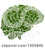 Clipart Of A Green Artificial Intelligence Circuit Board Brain Royalty Free Vector Illustration