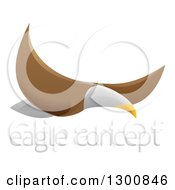 Clipart Of A Flying Bald Eagle With Sample Text Royalty Free Vector Illustration