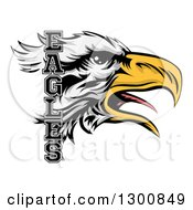 Clipart Of A Tough Bald Eagle Mascot Head And Text Royalty Free Vector Illustration