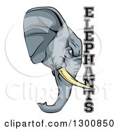 Tough Gray Elephant Mascot Head And Text