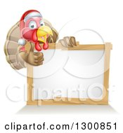 Clipart Of A Christmas Turkey Bird Wearing A Santa Hat And Giving A Thumb Up Over A Blank White Sign Royalty Free Vector Illustration
