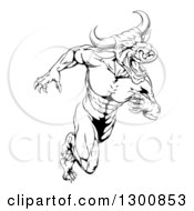 Clipart Of A Muscular Aggressive Black And White Bull Man Monster Sprinting Upright Royalty Free Vector Illustration