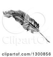 Clipart Of A Black And White Engraved Feather Quill Pen Royalty Free Vector Illustration by AtStockIllustration