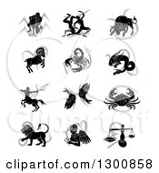 Clipart Of Black Silhouetted Astrology Zodiac Animals And Gray Symbols Royalty Free Vector Illustration by AtStockIllustration
