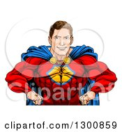 Clipart Of A Cacuasian Muscular Super Hero Man With Hands On His Hips Royalty Free Vector Illustration