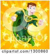 Clipart Of A Happy Brunette Caucasian Male Super Hero Running In A Green Suit Over A Burst With Stars Royalty Free Vector Illustration