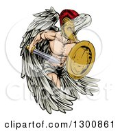 Clipart Of A Spartan Trojan Warrior Angel Running With A Sword And Shield Royalty Free Vector Illustration by AtStockIllustration