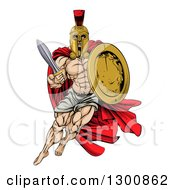 Clipart Of A Strong Spartan Trojan Warrior Mascot With A Cape Running With A Sword And Shield Royalty Free Vector Illustration