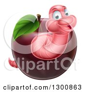 Clipart Of A Happy Pink Worm Emerging From A Red Apple Royalty Free Vector Illustration by AtStockIllustration