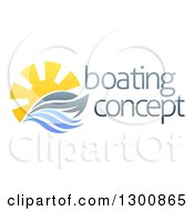 Clipart Of A Sailing Boat Yacht With The Sun And Ocean Waves By Sample Text Royalty Free Vector Illustration