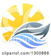 Clipart Of A Sailing Boat Yacht With The Sun And Ocean Waves Royalty Free Vector Illustration by AtStockIllustration