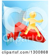 Clipart Of A 3d Gold Man Cheering On A Red Growth Arrow Over Graphs On Blue Royalty Free Vector Illustration