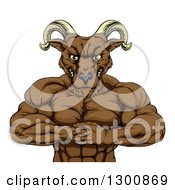 Clipart Of A Muscular Tough Angry Ram Man Punching One Fist Into A Palm Royalty Free Vector Illustration by AtStockIllustration