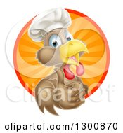Clipart Of A Happy Brown Chef Chicken Giving A Thumb Up And Emerging From A Circle Of Sun Rays Royalty Free Vector Illustration by AtStockIllustration