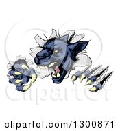 Clipart Of A Fierce Black Panther Shredding Through A Wall Royalty Free Vector Illustration