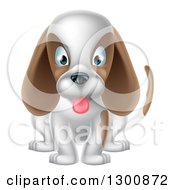 Cartoon Cute White And Brown Puppy Dog Sitting And Panting