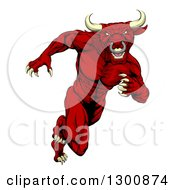 Clipart Of A Muscular Aggressive Red Bull Man Monster Sprinting Upright Royalty Free Vector Illustration