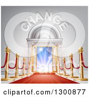 Clipart Of A Red Carpet And Posts Leading To A CHANGE Doorway With Bright Lights Royalty Free Vector Illustration by AtStockIllustration