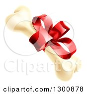 Clipart Of A Dog Bone With A Red Gift Ribbon And Bow Royalty Free Vector Illustration