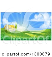 Clipart Of A Cottage Farm House Atop A Hill With Fields At Sunrise Royalty Free Vector Illustration