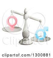 Clipart Of A 3d Unbalanced Silver Scale Weighing Gender Inequality Symbols Royalty Free Vector Illustration