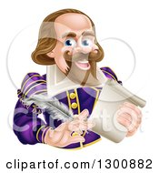 Cartoon Happy William Shakespeare Holding A Scroll And Feather Quill