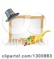 Clipart Of A Thanksgiving Cornucopia Horn Of Plenty With Produce And A Pilgrim Hat With A Blank White Site Royalty Free Vector Illustration by AtStockIllustration