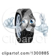 Clipart Of A Happy Tire Character Holding A Thumbs Up And A Spanner Wrench Royalty Free Vector Illustration