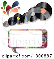 Clipart Of Vinyl Record Albums With Colorful Splashes And A Patterned Speech Bubble Royalty Free Vector Illustration