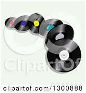 Clipart Of 3d Vinyl Record Albums On Pastel Green Royalty Free Vector Illustration by elaineitalia
