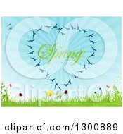Clipart Of A Heart Formed Of Blue Birds Around Spring Text With Butterflies Flowers Grass Ferns And Blue Sunshine Rays Royalty Free Vector Illustration