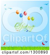 Clipart Of Green Spring Text Floating With Balloons Butterflies Birds And Grass Against Green Sky Royalty Free Vector Illustration